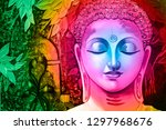 meditating lord buddha in pink... | Shutterstock . vector #1297968676