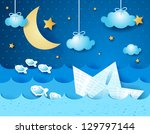 paper boat  at night. fantasy... | Shutterstock .eps vector #129797144