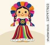 mexican traditional doll  maria ... | Shutterstock .eps vector #1297977823