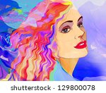 fashion woman. hand painted... | Shutterstock . vector #129800078