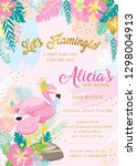 save the date. flamingo baby... | Shutterstock .eps vector #1298004913