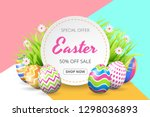 happy easter sale background... | Shutterstock .eps vector #1298036893