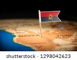 angola marked with a flag on... | Shutterstock . vector #1298042623