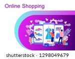 online shopping concept with... | Shutterstock .eps vector #1298049679