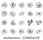 flowers set. collection of... | Shutterstock .eps vector #1298056159