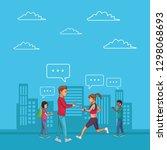 group of friends cartoon | Shutterstock .eps vector #1298068693