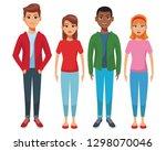 group of friends cartoon | Shutterstock .eps vector #1298070046