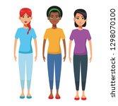 young women body cartoon | Shutterstock .eps vector #1298070100