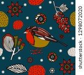 winter background  berries in... | Shutterstock .eps vector #1298072020