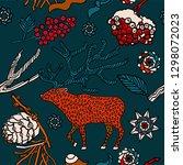 winter background  berries in... | Shutterstock .eps vector #1298072023
