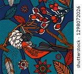 winter background  berries in... | Shutterstock .eps vector #1298072026