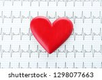 red heart on cardiogram  top... | Shutterstock . vector #1298077663