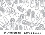 seamless pattern with shoes.... | Shutterstock .eps vector #1298111113