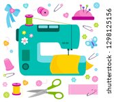 sewing tools equipment and... | Shutterstock . vector #1298125156