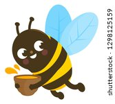 a bee flying and holding a pot... | Shutterstock . vector #1298125159
