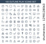 100 play icons. trendy play... | Shutterstock .eps vector #1298128063
