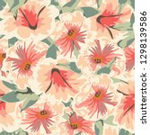 trendy floral background with... | Shutterstock .eps vector #1298139586