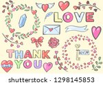 a set of romantic symbols and... | Shutterstock .eps vector #1298145853