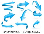 blue 3d shiny arrows. set of... | Shutterstock .eps vector #1298158669