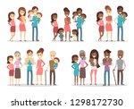 happy families set. parents...   Shutterstock . vector #1298172730
