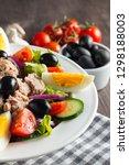 fresh caesar tuna salad with... | Shutterstock . vector #1298188003