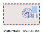 blank envelope with stamp and... | Shutterstock . vector #1298188156
