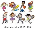 eight colorful sport children... | Shutterstock .eps vector #12981913