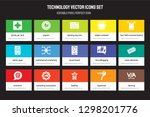 set of 15 flat technology icons ... | Shutterstock .eps vector #1298201776