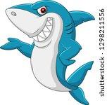 cartoon shark waving | Shutterstock . vector #1298211556