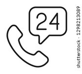 calls 24 hours icon. line style | Shutterstock .eps vector #1298213089
