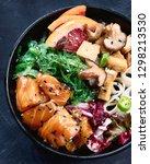 poke bowl with salmon  guinoa ...   Shutterstock . vector #1298213530