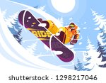 jumping snowboarder in trendy... | Shutterstock .eps vector #1298217046