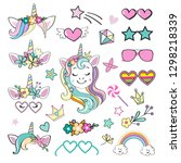 collection of props for unicorn ...   Shutterstock .eps vector #1298218339