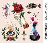 set of  color tattoos at... | Shutterstock .eps vector #1298240290