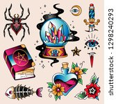 set of  color tattoos at... | Shutterstock .eps vector #1298240293