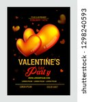 valentines day party flyer | Shutterstock .eps vector #1298240593