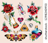 set of  color tattoos at... | Shutterstock .eps vector #1298240953