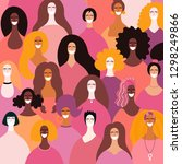 diverse women faces background. ... | Shutterstock .eps vector #1298249866