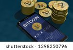 smartphone with bitcoin chart... | Shutterstock . vector #1298250796