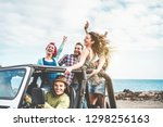 group of happy friends doing... | Shutterstock . vector #1298256163