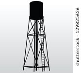 Industrial construction with water tank. Vector illustration.