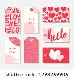 a set of seven cute romantic... | Shutterstock .eps vector #1298269906