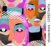 texture with women portraits in ... | Shutterstock . vector #1298276476