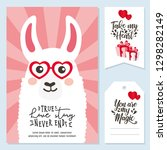 valentine's day set with cute... | Shutterstock .eps vector #1298282149