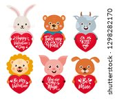 valentine's day set with cute... | Shutterstock .eps vector #1298282170