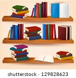 bookshelf with colorful books... | Shutterstock .eps vector #129828623