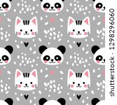 vector seamless pattern with... | Shutterstock .eps vector #1298296060