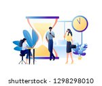 business people with laptops... | Shutterstock .eps vector #1298298010