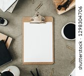 flat lay of clipboard with copy ... | Shutterstock . vector #1298304706