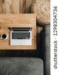 top view of laptop  coffee cup... | Shutterstock . vector #1298304736